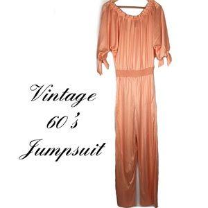 Vintages 1960's peach blush jumpsuit jumper